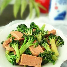 午餐肉炒西兰花