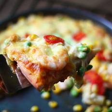 馅料十足的海鲜披萨