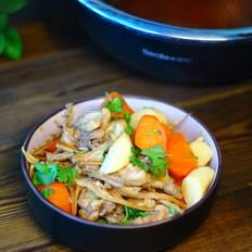 鸡腿炖山药胡萝卜干笋