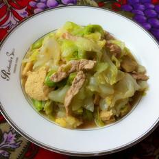 圆白菜冻豆腐炒肉