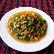 蒜苔胡萝卜炒肉丁