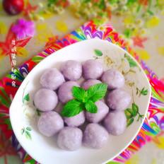 紫甘蓝黑芝麻汤圆