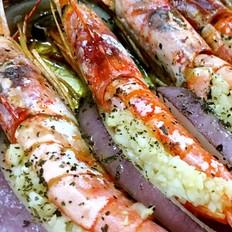 蒜香椒盐烤阿根廷红虾