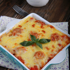 自制热门肉丸奶酪焗面--茄汁肉丸奶酪焗面