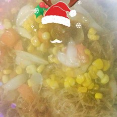 玉米百合小虾米炒粉丝