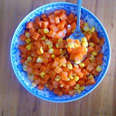 胡萝卜丁炒玉米粒