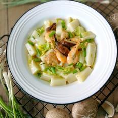 鲜虾白菜香菇烩年糕