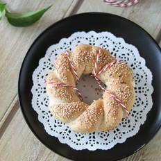 芝麻花环面包