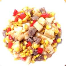 年糕玉米粒炒牛肉