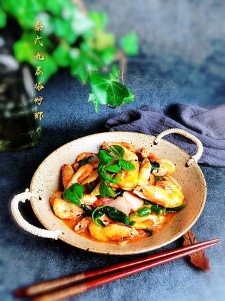 九层塔茄汁虾的做法