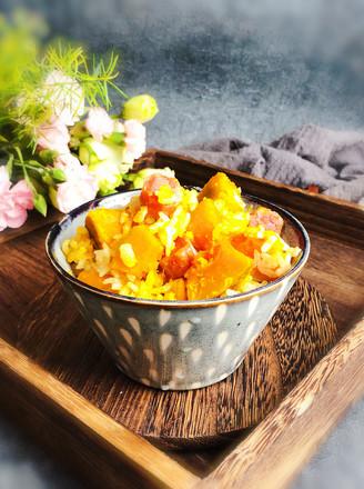 南瓜腊肠焖饭的做法