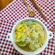 有机花菜鸡蛋汤