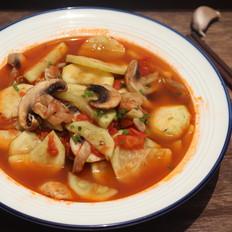 番茄西葫芦蘑菇汤