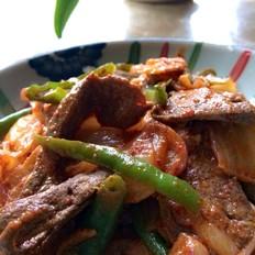 辣白菜青椒炒猪肝