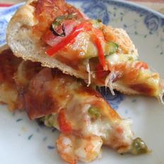 火腿冻虾披萨