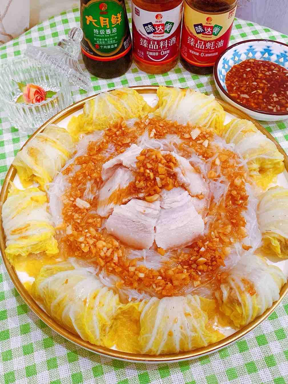 蒜泥三白——白玉卷、白粉丝、白肉的做法