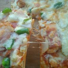 培根卷虾仁披萨