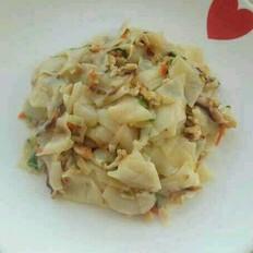 香菇青菜肉丝炒面片
