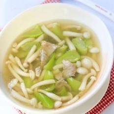 白玉菇丝瓜肉片汤