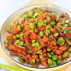 毛豆胡萝卜炒肉皮