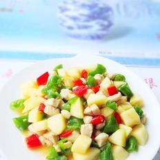 双椒苹果炒鸡丁