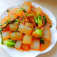 青菜肉丝炒凉粉