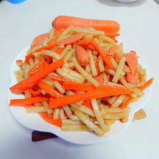 胡萝卜火腿肠炒年糕