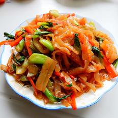 青菜炒凉皮的做法