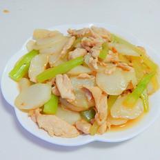 莴笋山药炒鸡片