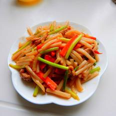 蒜苔肉丝炒年糕