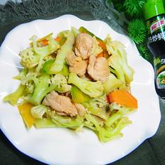 有机花菜炒肉片