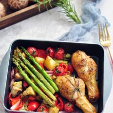 烤蔬菜鸡腿