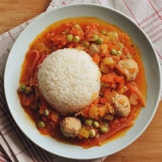 茄汁杂菜肉丸饭