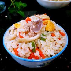 菌菇肉丝彩色蛋炒饭