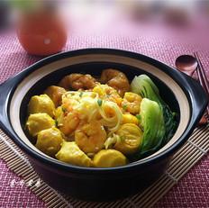 咖喱鱼蛋鲜虾面
