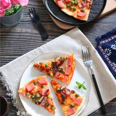 火腿肠芝士薄底披萨