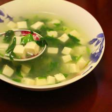 滑嫩荠菜豆腐羹