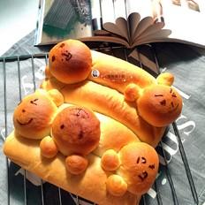 花生酱挤挤卡通汤种面包