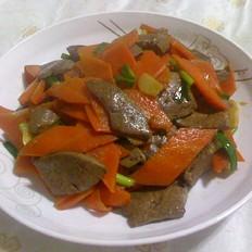 猪肝炒胡萝卜
