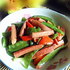 尖椒火腿炒荷兰豆