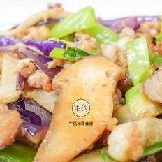 松茸酱炒肉末茄子 牛佤松茸食谱的做法