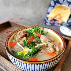 野生荠菜炖鸡汤
