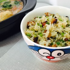 蒜苔腊肉炒饭