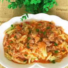 番茄菜花炒肉片