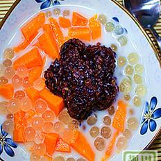 椰香木瓜紫米西米露