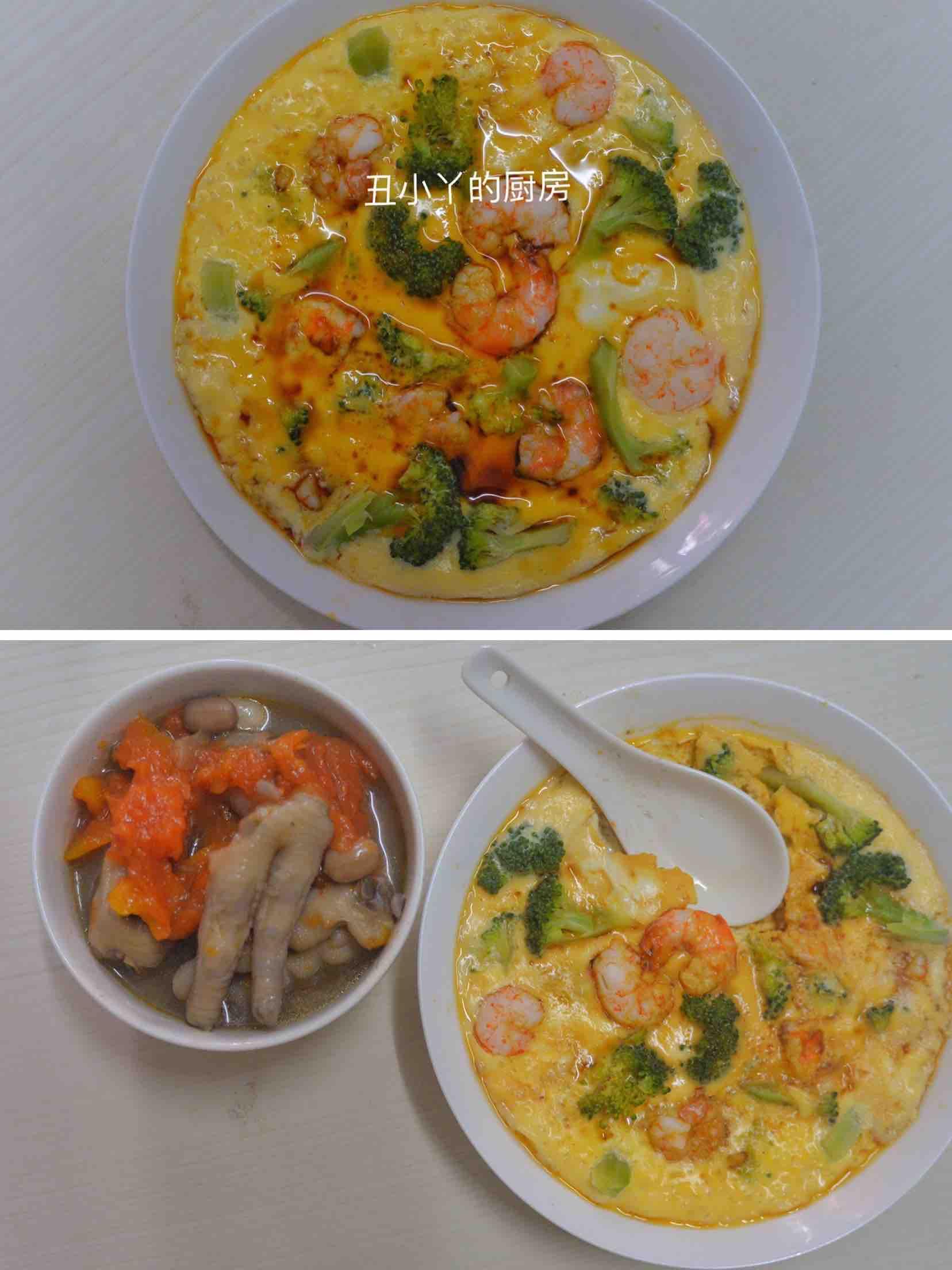 低脂减肥餐|鲜虾西兰花豆腐蒸鸡蛋