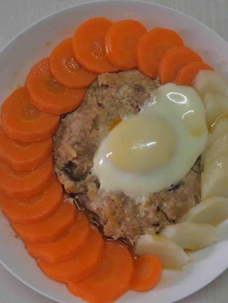 红萝卜+山药+马蹄蒸肉饼+蒸蛋