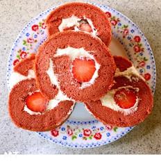 红丝绒草莓卷