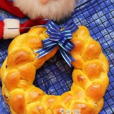 南瓜葡萄干圣诞花环面包