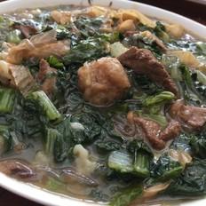 豆皮粉条小白菜炖猪肝